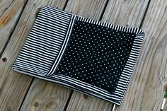 Dots & Stripes - Cotton Knit Swaddle Stretch Snuggle Baby Girl Boy Unisex Gender Neutral Blanket Black White Modern by Mint Chocolate Chip