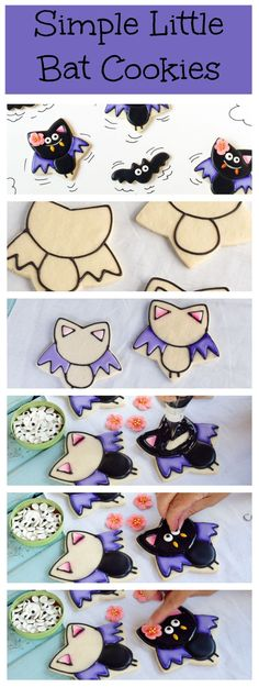 Royal Icing Decorated Cute Bat Shaped Sugar Cookies Tutorial - Purple, Black, Flower Recipes  #2014 #Halloween