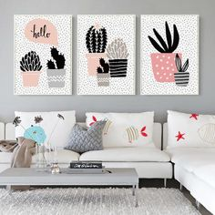 Elegant Poetry Nordic Abstract Geometric Potted Plants Canvas Painting Art Print Poster Picture Wall Painting Home Bedroom Decor Home Decor Wall Art, Home Art, Diy Wall Art, Bedroom Decor, Simple Canvas Paintings, Canvas Wall Art, Quirky Art, Flower Canvas, Wall Art For Sale