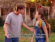 """Gilmore Girls, season 2, episode 2, """"Hammers and Veils,"""" aired 9 October 2001. Dean Forester is played by Jared Padalecki and Lorelai Leigh """"Rory"""" Gilmore is played Alexis Bledel. Dean: """"I just thought we could hang today. Maybe see a movie, get something to eat. We could go to a bookstore. I'll watch you browse for six or seven hours."""" Rory: """"I would love to but I have to do this thing today."""" Dean: """"Blow it off."""" Rory: """"I can't."""" Dean: """"Did I mention the bookstore for six or seven hours?"""""""