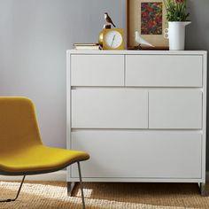 "Hudson 5-Drawer Dresser - White | West Elm - 36""w x 21""d x 38.5""h."