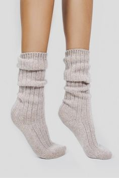 Keep your feet warm and cozy in our soft cashmere socks. Ribbed throughout. Hand Wash Naked or Dry Clean Only. 85 grams of sumptuously soft cashmere blend in knit. Slouch Socks, Cable Knit Socks, Cozy Socks, Knitting Socks, Frilly Socks, Cashmere Socks, Slipper Socks, Slippers, Knitting Accessories