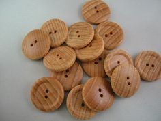 "Wood button lot of 12 natural 2 hole. 7/8"" (23mm) diameter (Large)"
