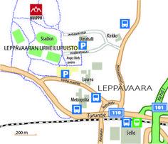 Huipun tarkempi sijainti Leppävaaran urheilupuistossa. Huippu is located in Leppävaara, Espoo near the shopping centre Sello.