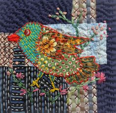 Sashiko Stitchclothcolour: Bird and Colour Play Sashiko Embroidery, Bird Embroidery, Creative Embroidery, Japanese Embroidery, Hand Embroidery Stitches, Embroidery Patterns, Hand Quilting, Vogel Quilt, Boro Stitching