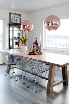 Elise has made most of its interior self Dining Area, Dining Table, Interior Decorating, Inspiration, Furniture, Home Decor, Scandinavian, Tables, Copper
