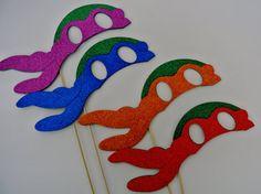 Teenage Mutant Ninja Turtles Photo Booth Props set of 4 Ninja Turtle MasksTeenAge Ninja Inspired Masks Photo Booth Party Props Ninja Power...