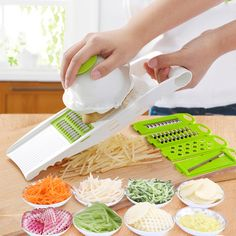 Hot 5 in 1 Multi-function Plastic Vegetable Fruit Slicers Cutter Adjustable Stainless Steel Blades Carrot Grater Onion Dicer