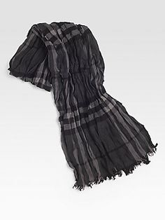 Burberry Tonal Checked Crinkle Scarf