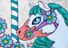 """Aceo Original """"CAROUSEL HIBISCUS PONY"""" pencil/ink on paper ON EBAY"""