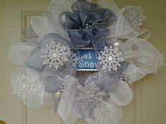 Custom Handmade Let it Snow Snowflake White Deco Mesh Wreath 28 inches   #LazyDaysPaintings