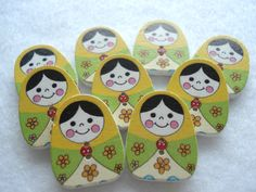 25mm Wood Buttons Russian Doll Print Buttons Pack of 9 Matryoshka Buttons W2536a