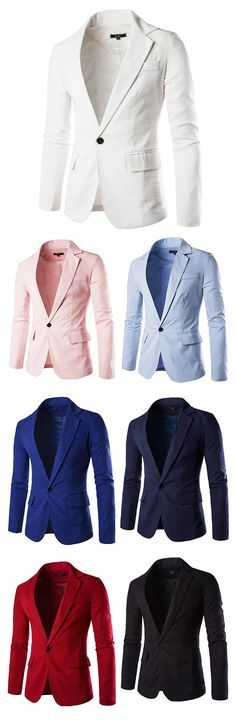 US$29.72 (41% OFF) Casual Business Slim One Button Single Breasted Blazers Suits for Men