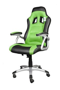 brand new black and green pu leather computer game chair funky