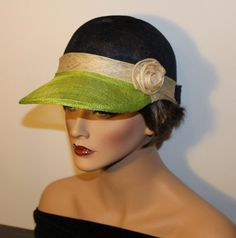 Golf Cap  Casual Chic Sinamay cap Fluo green by MonBoChapoHat, $65.00 Sinamay Hats, Fascinator Hats, Fascinators, Hair Cover, Church Hats, Royal Ascot, Casual Chic, Captain Hat, Trending Outfits
