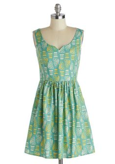 Soft Serving of Style Dress - Cotton, Short, Yellow, White, Novelty Print, Pockets, Casual, A-line, Tank top (2 thick straps), Mint, Daytime Party, Quirky, Summer, Exclusives