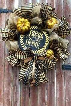 Bless Our Home Black & Gold Elegant Autumn Fall Deco Mesh | Etsy Fall Deco Mesh, Deco Mesh Wreaths, Fall Wreaths, Trendy Tree, Autumn Fall, Black Gold, Blessed, Halloween, Elegant
