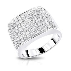 2 Carat Mens Diamond Ring in 14K Gold Large Diamond Band by Luxurman