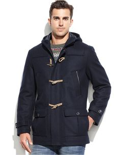 $275, Navy Duffle Coat: Nautica Wool Blend Hooded Toggle Coat. Sold by Macy's. Click for more info: https://lookastic.com/men/shop_items/155812/redirect