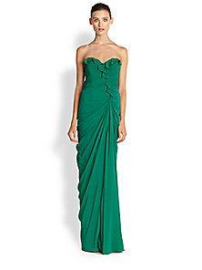 Badgley Mischka - Strapless Silk Ruffle Gown