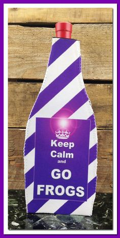 Wine Koozie, Keep Calm and GO FROGS by WhatsInANameCustomAr on Etsy
