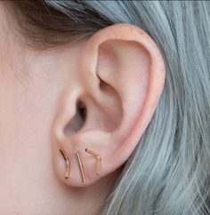 Bar Earrings from OneSixFive Jewelry - delicate and minimal, you can't go wrong with these simple bar earrings.  14k Gold Fill Handmade in Columbus, Ohio