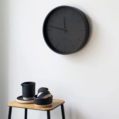 The Black Tone clock by Huygens is a minimalist wall clock with black matt clock face and contrasting glossy hour markers and hands. This contemporary wall clock features a silent Japanese quartz mechanism, stainless steel case and glass front cover. Minimalist Wall Clocks, Black Clocks, Cool Clocks, Mantle Clock, Wall Shelves, Shelf, Recycled Wood, Stainless Steel Case, Order Prints