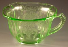 Lorain is special with the baskets and scrolls.  Indiana made this in green and yellow back in the early 1930s.    Plates and bowls are square with scalloped corners and the tumblers have square feet.  Nice, nice, nice!