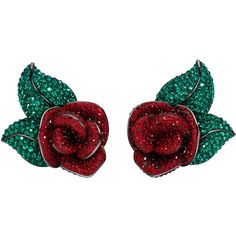 Clip Earrings Atelier Swarovski (£400) ❤ liked on Polyvore featuring jewelry, earrings, joyas, rose earrings, atelier swarovski, red rose jewelry, red earrings and rose jewelry