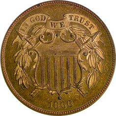 Coin of the Day - Shield Two Cents 1866 2C PF http://www.ngccoin.com/…/shield-two…/1866-2c-pf-coinid-13630