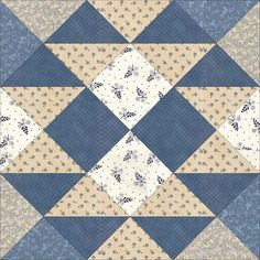 June 22 Buckwheat is a recent block. According to Barbara Brackman, it was first published in Quilt World in 1979 (Issue Quilt Block Patterns, Pattern Blocks, Quilt Blocks, Grey Quilt, Blue Quilts, Quilting Projects, Quilting Designs, Asian Quilts, Dear Jane Quilt