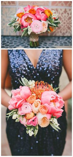 This is my favorite bouquet I've found so far! I LOVE the bright colors, the pinks and oranges, that fun flower I don't know the name of (haha), and the greens!