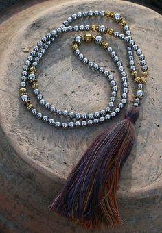 Mala made of 108, 6 mm - 0.236 inch, beautiful hematite gemstones - look4treasures on Etsy