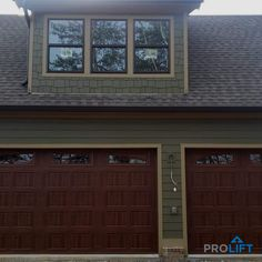 These days, homeowners are increasingly choosing faux wood garage doors instead of solid wood. Why? Well, not only are they stylish, the new generation of faux wood doors have high energy efficiency, are low maintenance and are budget-friendly... all wrapped up in an authentic wood look. Here's what you need to know.... | Why Homeowners Choose New Garage Doors That LOOK Like Wood by ProLift Garage Doors of St. Louis Blog | Project and Photo Credits: ProLift Garage Doors Chattanooga Carriage House Garage Doors, Garage Door Windows, Windows And Doors, Arched Windows, Garage Door Colors, Garage Door Design, Faux Wood Garage Door, Wood Doors, Door Picture
