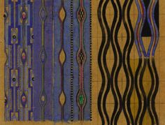 Wave pattern textile in purple and black designed by Charles Rennie Mackintosh…