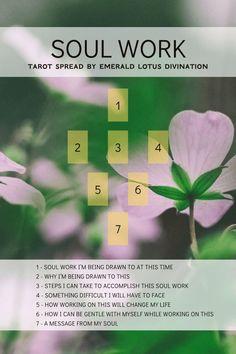 Soul Work Tarot Spread - Emerald Lotus Divination Free collective/ pick a card readings Tarot Card Spreads, Tarot Cards, Tarot Astrology, Def Not, Oracle Tarot, Tarot Learning, Tarot Card Meanings, Card Reading, Book Of Shadows