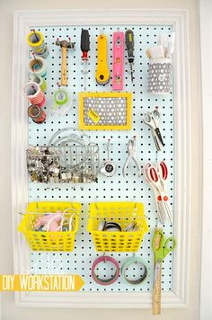 DIY Workstation Peg Board and organization tips. the36thavenue.com