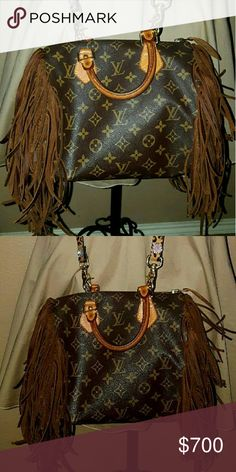 Authentic Louis Vuitton Speedy 25 Fully customized with brown fringe and a Leopard crossbody strap Louis Vuitton Bags Crossbody Bags
