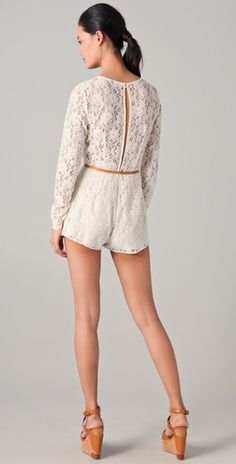 Lace romper with keyhole back