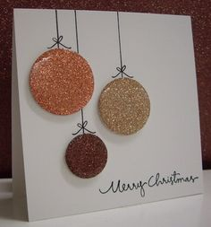 Stamping with Loll: Metallic Ornaments What a great CAS Christmas card with Crystal Effects over the glitter paper! Diy Christmas Ornaments, How To Make Ornaments, Christmas Greeting Cards, Holiday Cards, Merry Christmas, Paper Cards, Diy Paper, Diy Cards, Paper Ornaments