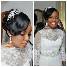 Nigerian Wedding: 30 Gorgeous REAL Bridal Hair Inspiration & Ideas - Bride & Wedding Network : Explore & Discover the best and the most trending wedding ideas Around the world Bridal Hair Updo, Bridal Hair And Makeup, Hair Makeup, African Hairstyles, Cool Hairstyles, Black Hairstyles, Unique Wedding Hairstyles, Bridal Hairstyles, African American Brides