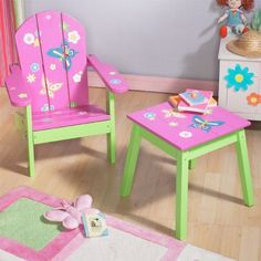Brightly colored Adirondack chair and table set for girls
