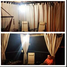 DIY cabana curtains with curtain rod, outdoor curtains, twine and weights at bottom for wind precaution. Oh and of course your handsome man ;)