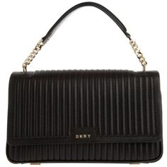 DKNY Gansevoort Pinstripe Quilted Lamb Nappa Bag Black  in black,... (1.210 BRL) ❤ liked on Polyvore featuring bags, handbags, shoulder bags, black, quilted chain handbag, flap purse, flap handbags, pocket purse and quilted shoulder bag