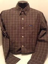 CHAPS brown checked easy care button down excellent condition cot blend sz med
