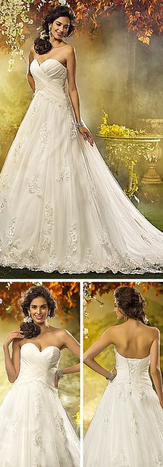 A beautiful princess wedding dress for the bride on a budget! It has a sweetheart neckline, ruching, chiffon and lace details. Such a classic and stunning dress!