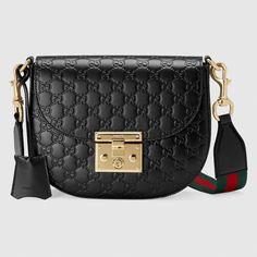 aada4bb4573 Padlock Gucci Signature leather shoulder bag in Black Gucci signature  leather