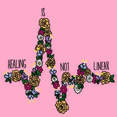 Healing is not linear // self love positivity quotes illustration// artists stuff