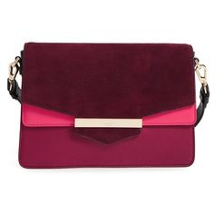 Women's Kate Spade New York Carmel Court - Kaela Leather Shoulder Bag ($265) ❤ liked on Polyvore featuring bags, handbags, shoulder bags, rioja multi, genuine leather handbags, color block leather handbags, purple leather shoulder bag, kate spade handbag and party purses