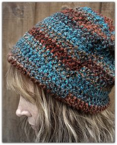 Autumn Tones Crochet Slouchy Hat by LoveDesignsBoutique on Etsy
